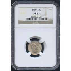 1909 10¢ Barber Dime (NGC MS 63)