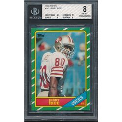 1986 Topps #161 Jerry Rice RC (BGS 8)