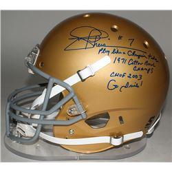 "Joe Theismann Signed Notre Dame Fighting Irish Full-Size Helmet Inscribed ""Play Like A Champion Toda"