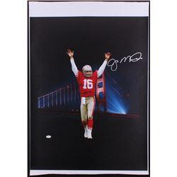 Joe Montana Signed 49ers 24.5x33.5 Photo on Canvas (JSA COA)