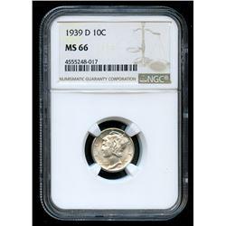 1939-D Mercury Silver Dime (NGC MS 66)