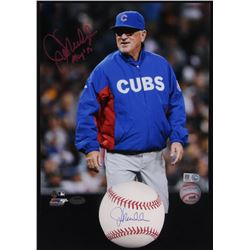 """Lot of (2) Joe Maddon Signed Items with (1) OML Baseball  (1) 8x10 Photo Inscribed """"MOY'15"""" (Schwart"""