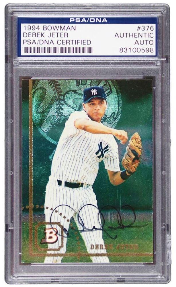 Derek Jeter Signed 1994 Bowman 376 Baseball Card Psa