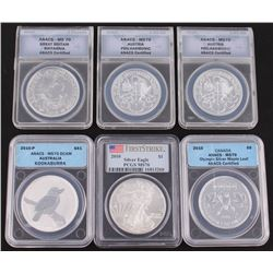 Lot of (6) 2010 Assorted ANACS  PCGS Encapsulated Silver Coins