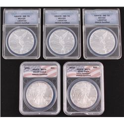 Lot of (5) 2009-2010 Assorted ANACS Encapsulated Silver Coins