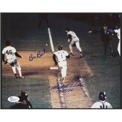 """Bill Buckner  Mookie Wilson Signed 1986 World Series 8x10 Photo Inscribed """"10/25/86"""" (JSA COA)"""