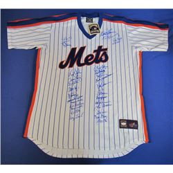 1986 World Series Champions Mets Jersey Team-Signed by (28) with Keith Hernandez, Doc Gooden, Daryl