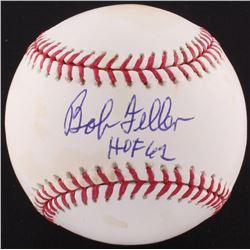 """Bob Feller Signed OML Baseball Inscribed """"HOF 61"""" (PSA COA)"""