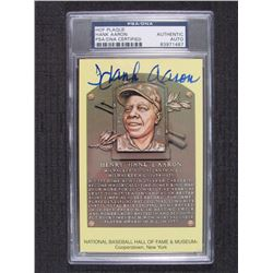 Hank Aaron Signed Gold HOF Card (PSA Encapsulated)