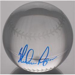 Nolan Ryan Signed Lead Crystal Baseball (PSA COA)