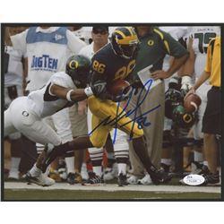 Mario Manningham Signed Michigan Wolverines 8x10 Photo (JSA COA)