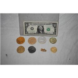 PIRATES OF THE CARIBBEAN COMPLETE SET OF 7 DIFFERENT SCREEN USED TREASURE COINS WITH GOLD CHAIN