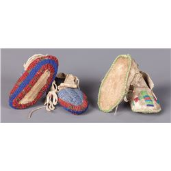 Two Pair of Northern Plains Child's Moccasins