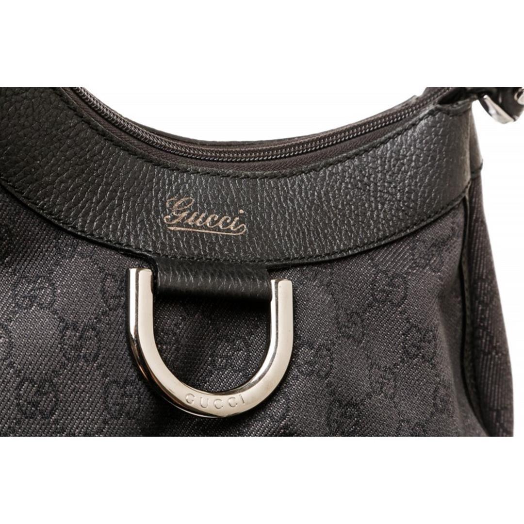 975cac38d440 ... Image 5 : Gucci Black Denim Leather Monogram D Ring Shoulder Bag ...