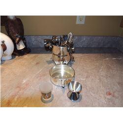 Bar Mixer Set Metal, Bard Dish, 2 Shot Glasses $20 to $40