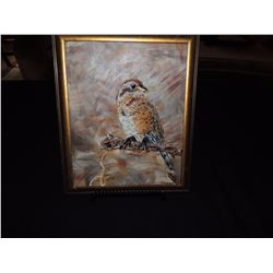 "Gold Framed ""Leila Maichel"" Bird Painting $50 to $100"