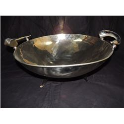 Large gold bowl with horned handles and feet $50 to $250
