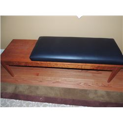 Wooden Bench with Black Leather Cushion $125 to $225