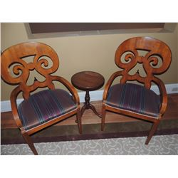 2 Decorative Back Wooden Chairs with Red, Gold & Green Stripe Cushions with small round side table $