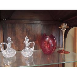 Miscellaneous Glassware - 2 Decanters, Red Bowl, Candle Holder $45 to $90