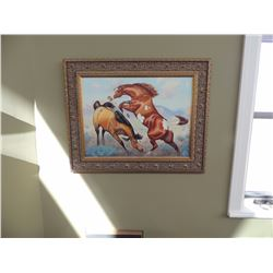 "Oil Painting, ""Fighting Stallions"" by Keith 18""H x 24""W $250 to $500"