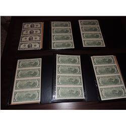 U.S. Gov't Uncut Sheet of 4, $2.00 Bills (Comes with 6 Sets in Folders) $100 to $200