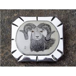 Bighorn Sheep belt buckle by Marv Clynke