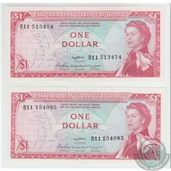 Pick #13a.  Pair of 1965 East Caribbean States $1 notes, Signature 2, Back Variety 1, S/N: B11 15408