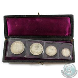 Great Britain; 1818 George III Original Maundy 4-coin set in original Case.  Set includes the silver