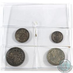 Great Britain; 1902 4-coin Maundy set. This is the first year of Edward VII. All coins have even ton