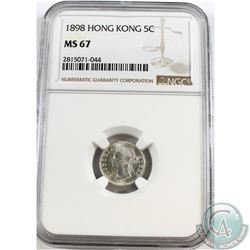 Hong Kong; 1898 5-cent NGC Certified MS-67. Tied for highest known POP = 3!