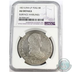 Peru; 1821 Lima 8R NGC Certified AU Details Surface Hairlines