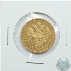 Russia; 1897 Gold 15 Roubles. 1 year issue only. Coin features Nicholas II the last Czar of the Russ