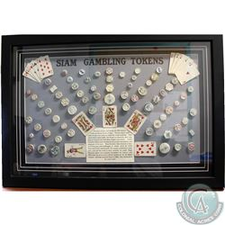 Spectacular Framed Siam Porcelain Gambling Tokens Set with Info Sheet and miniture Playing Cards. Th