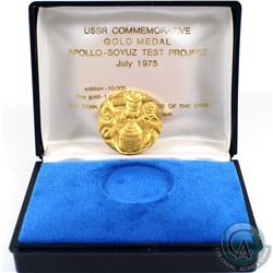 USSR; 1975 1oz Gold Medallion commemorating the USSR Apollo-Soyuz Test Project. This is coin 703/100