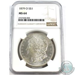 USA; 1879-O Silver $1  NGC Certified MS-64. A Bright flashy coin accented with slight cameo reliefs.