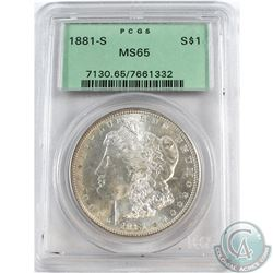 USA;  1881-S Silver $1 PCGS Certified MS-65. A Bright flashy coin accented with slight toning around