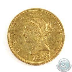 USA; 1847 $10 Gold Eagle Extra Fine