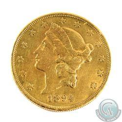 USA; 1894-S $20 Gold Double Eagle EF-AU