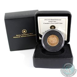 Canada 1912 $5 Hand-Selected Gold Coin. In all original Mint packaging.