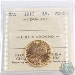 Canada 1912 $5 Gold ICCS Certified AU-55