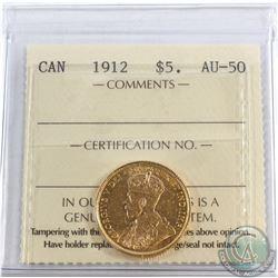 Canada 1912 $5 Gold ICCS Certified AU-50