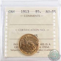 Canada 1913 $5 Gold ICCS Certified AU-55