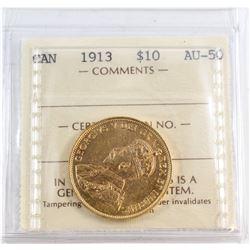 Canada 1913 $10 Gold ICCS Certified AU-50