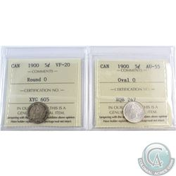 5-cent 1900 Oval 0 AU-55 & 1900 Round 0 VF-20 ICCS Certified. 2pcs