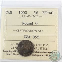 5-cent 1900 Round 0 ICCS Certified EF-40