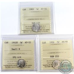 5-cent 1902, 1902H small H & 1906 ICCS Certified AU-55. 3pcs