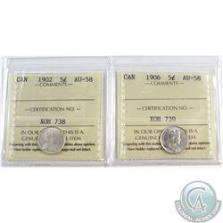 5-cent 1902 & 1906 ICCS Certified AU-58. 2pcs