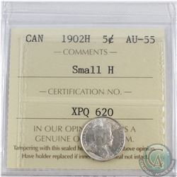 5-cent 1902H Small H ICCS Certified AU-55