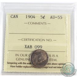 5-cent 1904 ICCS Certified AU-55